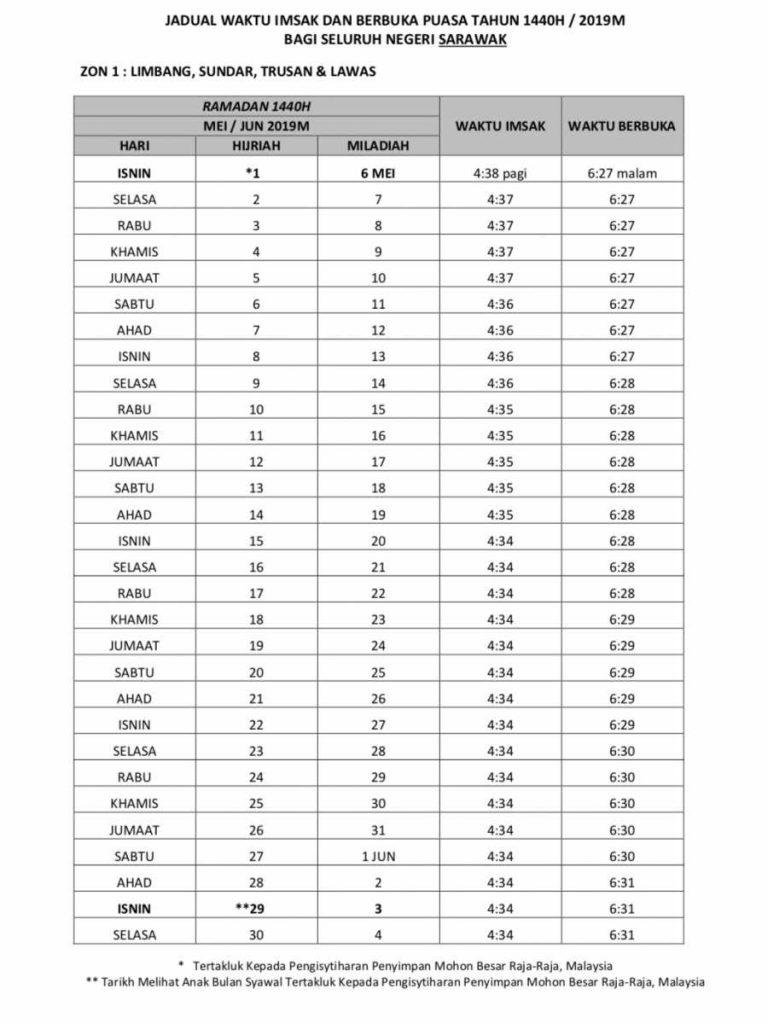 jadual puasa 2019 sarawak