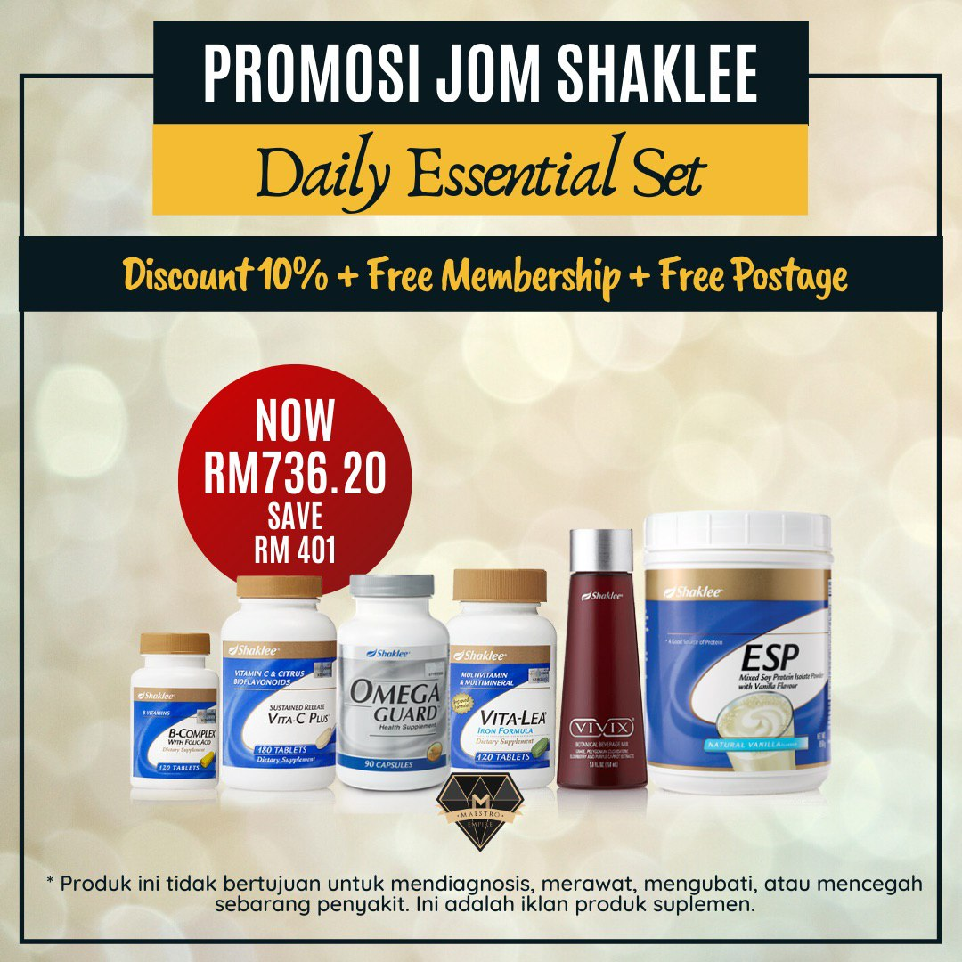 jom shaklee daily essential set